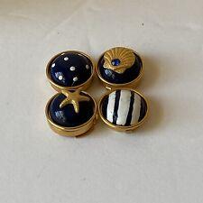 Vintage Gold Tone Blue Enamel Decoritive Button Covers