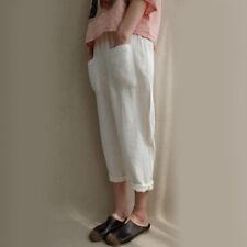 Womens Elastic High Waist Baggy Harem Pants Cotton Linen Long Trousers Plus Size