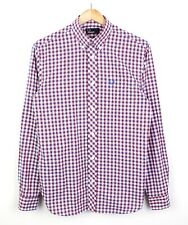 Fred Perry Mens Blue Red White Checkered Long Sleeve 100% Cotton Shirt - S