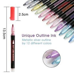 12 Colors Double Line Outline Pens Self Outline Metallic Markers Double Line Pen
