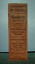 Sealed Quack Cure Box with Bottle, Dr. Taylor's Blackberry Root w/ Opium