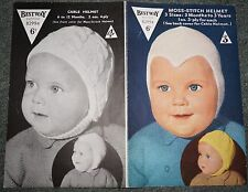 VINTAGE 40s 50s BESTWAY BABIES HELMETS KNITTING PATTERN MOSS STITCH CABLE