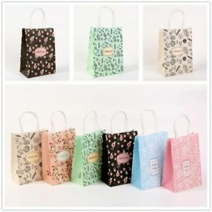 Printed Pattern Thank You Bag Bag with Handle Gift Paper Bags Kraft Paper