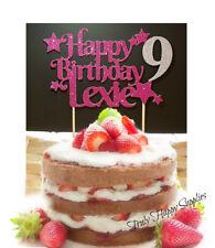 Personalised Cake Topper Nom Anniversaire Âge 1 18 21 30 Girl Boy 16 paillettes option