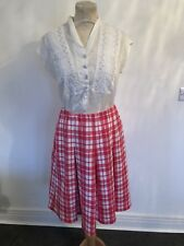 VINTAGE 70'S PINK & WHITE CHECK PLEAT MIDI SKIRT UK 12 MEDIUM