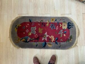 art deco chinese rug 2x4 mint