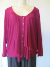 STELLA CARAKASI RASPBERRY SCOOP NECK FRONT BUTTON JERSEY SWEATER/TOP SIZE L