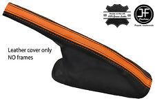 Negro y naranja grano superior de cuero polaina de freno de mano se adapta VW Golf MK2 1982-1991