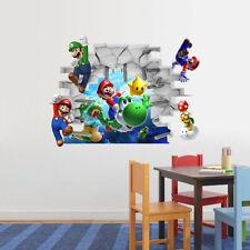 SUPER MARIO GALAXY Luigi Yoshi WALL STICKER DECAL Kids Room VINYL *UK Seller*