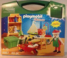 Playmobil 5987 Take Along Santa's Workshop, Elf & Toys - 40 pcs / Christmas  NEW