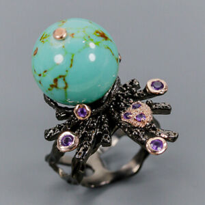 Turquoise Ring Silver 925 Sterling Jewelry Set Design Size 8 /R147362