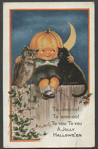 c.1910s HALLOWEEN POSTCARD Jack-O-Lantern Boy, Owl, and Black Cat
