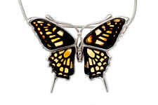 Baltic Amber & Sterling Silver 925 Butterfly Unique Pendant Jewellery Jewelry