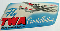 1940s-50s FLY TWA Airlines Constellation Luggage Sticker Decal, 6 x 3 inch