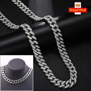 """18-24""""Mens Boys Hip Hop Thick Necklace Iced Out Chain Rhinestone Shiny Jewellery"""
