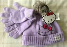 Girls Hello Kitty ~ Warm Winter Knitted/Knit Bobble Hat & Gloves Set ~ 4-8 Years