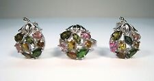 7.92 CTW FANCY TOURMALINE RING sz 8 & EARRINGS SET - 14k WHITE GOLD/925 SILVER