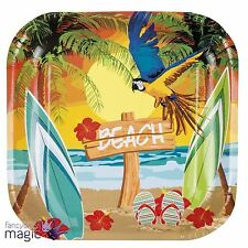 Pack Of 6 Hawaiian Tropical Paradise Summer Lei Beach Parrot Party Paper Plates