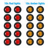 "20X RED Smoked Round Side Marker lights 3/4""LED Bullet Light Truck Trailer Amber"