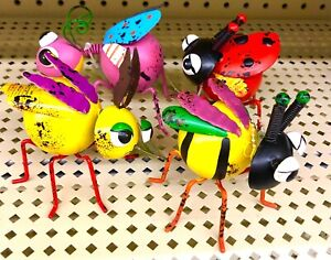 Set Of 4 Metal  Beetle Bee Lady Bug + Figurine  Insect Statue Garden Lawn Yard