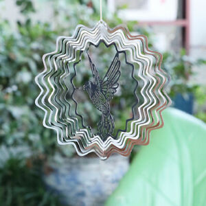 Stainless Steel Mirror Crystal Ball Stereo Rotating Wind Chime Outdoor Orn BNK