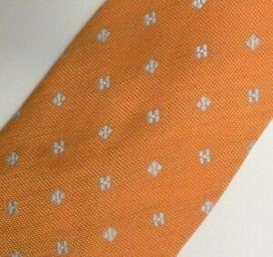 Orange Silver Linen Silk Tie