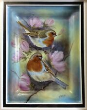 Elliot Hall Enamels Robins Plaque Limited Edition 12/20 N. Creed Mint In Box