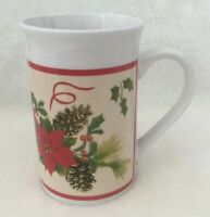 Royal Norfolk Christmas Coffee Tea Mug Cup Poinsettias Holly Pine Cones Ceramic