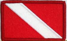SCUBA Flag Military Tactical Patch W/ VELCRO® Brand Fastener Red Border #05