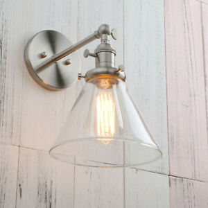 Industrial Style Wall Mount Reading Lamp Sconce Glass lampShade indoor Lights