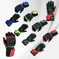 Mens Motorbike Motorcycle Racing Gloves Cowhide Real Leather Gloves Armored CE