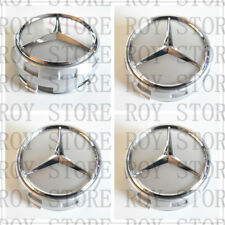Mercedes Benz Wheel Raised Center Caps Ember SILVER+ SILVER Hubcaps 75MM