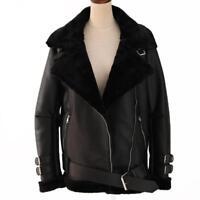 Real Fur Leather Shearling Zipper Coat Parka Womens Oversize Warm Short Jackets