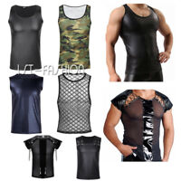 Men's Wet Look Leather Sleeveless Top T-shirt Clubwear Vest Crop Tops Costume