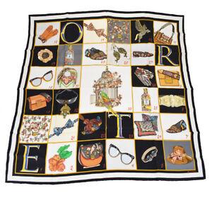 Authentic ETRO Logo Scarf Handkerchief 100% Silk Black Italy Accessory 02MG766