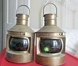 2 Vintage Nautical Starboard (Green) Ship Oil Lanterns Lamp Brass India