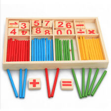 Jq_ Bl_ Wooden Counting Sticks Number Card Math Manipulatives Kids Educational