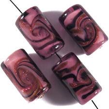 Lot de 4 Perles en Verre Lampwork Murano Tubes 10x17mm Améthyste