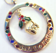 MERRY & BRIGHT GOLD TONED NECKLACE WITH IVY/BELL INSIDE CIRCLE WITH CRYSTALS