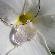 2 top rosenquarz tropfen perlen, gebohrt, ca. 14x8mm