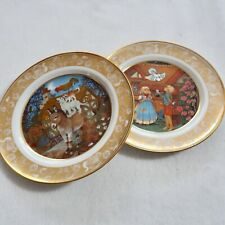 Set Of 2 Franklin Porcelain Plates-Hansel And Gretel - The Bremen Town Musicians