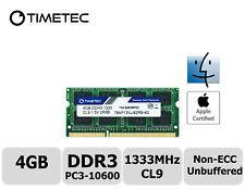 Timetec 4GB DDR3 1333MHz PC3-10600 Non-ECC 1.5V 2Rx8 SODIMM Apple Memory RAM