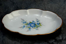 "Exclusivite ""Chamart"" Limoges France Blue Flower Tray Gold Rim 6.5"" x 4.5"""