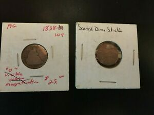 1838 and DATELESS SEATED LIBERTY DIMES