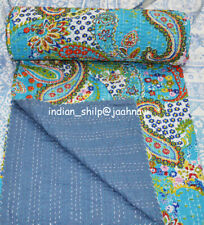 New Indian Cotton Kantha Quilt Bedspread Coverlet Bed Cover Paisley Screen Print