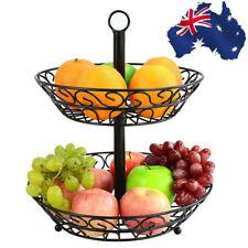 2 Tier Holder Storage Organizer Kitchen Fruit Basket Rack Stand Wire, Black AU
