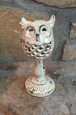 "Owl Candle Holder Tea Light Figurine Statue Distressed Metal ~ White 8"""