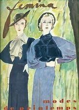 FEMINA. Avril 1934. Mode de Printemps. Editions Pierre Lafitte