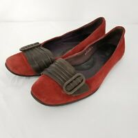 BORN Women's Red Suede Loafers Flats Brown Leather Accent Strap Size 8 EUC