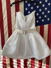 Betsey Johnson Bridal White Sequin Satin Flare Mini Dress RHOC Gretchen Rossi 4